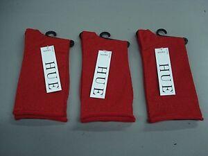 NWT Women's Hue Metallic Roll Top Socks One Size Apple Red 3 Pair #40J