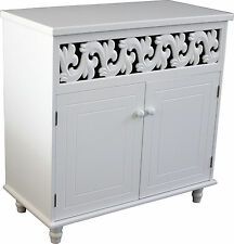 White Wooden Cupboard Cabinet Sideboard 2 Doors Furniture Freestanding Ws02