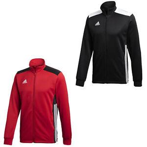 adidas Trainingsjacke Sportjacke Herren Männer im 3 Streifen Design schwarz rot