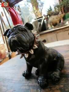 """PUNK BULLDOG FIGURE, """"SPIKE"""", Mohican Dog. Great Character. Charming Ornament"""