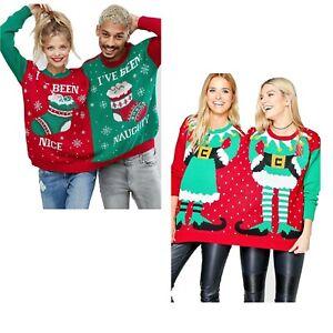 Men Women Mr & Mrs Elf Naughty And Nice Twin Christmas Jumper Top