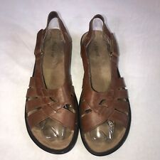 Women's Auditions Brown Leather Strap Sandal Size 10 N Summer