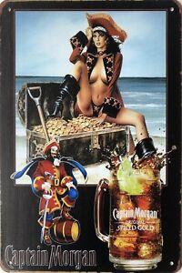 Captain Morgan Beer Rustic Vintage Metal Tin Signs Man Cave, Shed & Bar Sign
