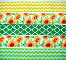 """Grosgrain Ribbon 1 1/2"""" Mixed Lot 5 yds Floral Sunflowers Spring Flowers Printed"""