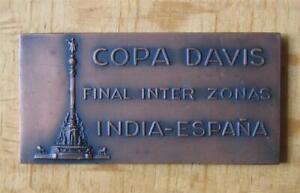 Rare Tennis Participant Medal / Plaque Davis Cup Inter-Zone Final 1965 Barcelona