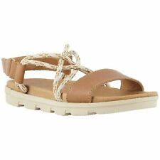 Sorel Torpeda II Camel Brown Womens Leather Back-Strap Sandals (6.5) Sporty Rope