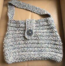 Vintage Retro Hand Chunky Knitted Lined Blue White Handbag Beach Bag Button