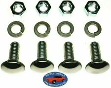 "Ford 3/8-16x1"" Stainless Capped Round Head Front Rear Bumper Bolts & Nuts 4pcs D"