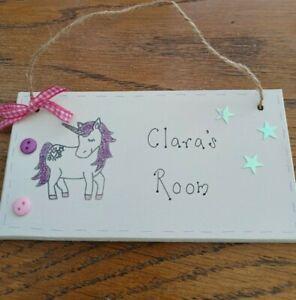 Personalised Unicorn Girl Room Bedroom Nursery Sign  Plaque
