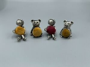 Lovely Vintage Set Of 4 Pewter Novelty Pin Cushions