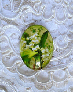 Lily Of The Valley 30X40mm Glitter Unset Handmade Glass Art Bubble Cameo Cab