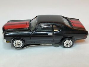 BLACK CHEVELLE RED STRIPES TJET HO SLOT CAR, ULTRA G CHASSIS,CHROME RIMS &TIRES
