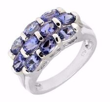 Natural AAA+ Tanzanite Oval cut Cluster 0.925 sterling silver Platinum over Ring