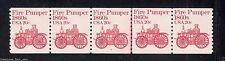 """US #1908 PL #2 20¢ """"Fire Pumper"""" Stamp PNC5 Plate Number Coil Strip ***Type I***"""