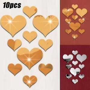10Pcs Love Shape Heart Mirror Tile Walls Sticker Stick Decal Home Bedroom Decors