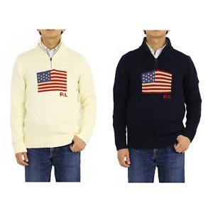 Polo Ralph Lauren Boy's Pullover 1/2 Zip USA Flag Sweater - 2 colors -