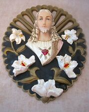 Vintage 3D Jesus Christ Pottery Plaster Chalkware Wall Hanging Easter Lily