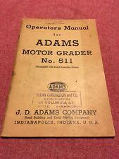 Adams No. 511 Motor Grader Parts List Manual original Copy Good Condition