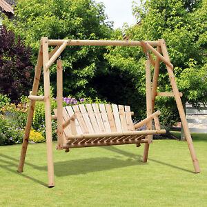 Freestanding 6.5' Wooden Loveseat Traditional Farmhouse Style Log Swing