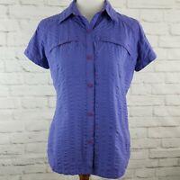 Columbia Omni Shade Womens Medium Purple Blue Vented Sun Protection Pockets