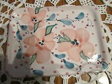 Red Clay Studio Art Pottery Floral Pattern Small Tray  -  Signed by Artist