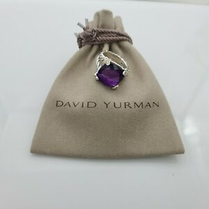 David Yurman Sterling Silver 15mm Amethyst Cushion On Point Diamond Ring Sz 6
