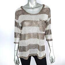 Boston Proper Womens Sweater Size Medium Lightweight Open Knit Sequin Stripe Top