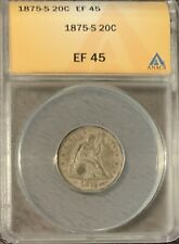 1875-S SEATED 20c PIECE - ANACS EF45