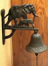Cast Iron Wall Mount Elephant Dinner Bell Indoor or Outdoor