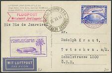 LZ127 ZEPPELIN POSTCARD FLIGHT GERMANY TO RIO DE JANEIRO, BRAZIL BS463