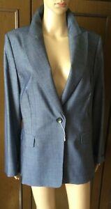 Yarn-dyed fabric jacket MARINA RINALDI Woman, blue color, size 29 Giacca Donna