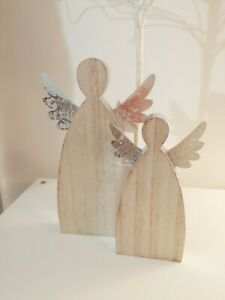 Wooden Angel with silver wings
