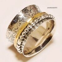 Solid 925 Sterling Silver Spinner Ring Meditation Ring Statement Ring Size SR689