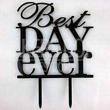 Best Day Ever Acrylic Wedding Day Cake Topper Silhouette Bride Groom