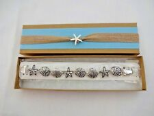 Seashore Bracelet Starfish Seashell Silver Magnetic Clasp Gift Box Icon