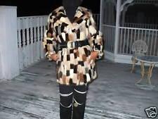 Unique mint multicolor Mink Fur Coat Jacket bolero S-M