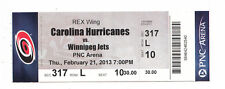 2013 CAROLINA HURRICANES VS WINNIPEG JETS FULL TICKET STUB 2/21/13 JETS WIN 4-3