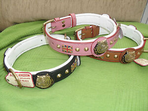 OUR NEW-LEATHER PADDED COLLAR BRITISH BULL DOG BRASS HEAD AND BRITISH FLAG