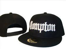 Black & White Compton Los Angeles Flat Bill Snapback Baseball Cap Caps Hat Hats