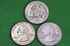2013-P D S  BU Mint State (Mount Rushmore )  US National Park Quarter(3 Coins)