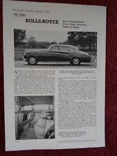 Rolls ROYCE SILVER CLOUD limousines LWB 1957 1958 essai routier brochure-le moteur