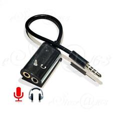 3.5mm Jack Combo Mic/Headphone Splitter Cable Adapter For iPhone Android Dev BLK
