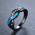 Blue Fire Opal CZ Cross Wedding Wavy Ring 10KT Black Gold Filled Size 5-10