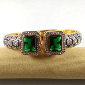 EMERALD & CZ Gemstone High Gold Plated Handmade Designer Cuff Bangle Bracelet