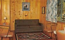 MANZANITA LAKE LODGE Lassen Park, CA Cabin Interior ca 1950s Vintage Postcard