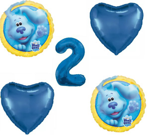 5pk Blues Clues Helium Blue Foil Balloons 2nd Birthday  Bouquet Package Sealed
