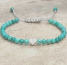 Turquoise Gemstone Silver Heart Beaded Bracelet Stacking Adjustable Friendship
