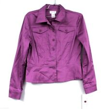 Women's Jacket Allison Taylor Stretch Purple Blazer Jean Jacket  Sz M Nwt $72