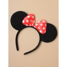 Black mini mouse ears with red spotted bow Fancy Dress Costume Accessory