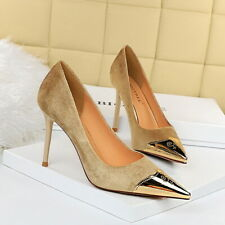 Women Pumps Faux Suede Pointy Toe Stiletto High Heels Slip On Office Dress Shoes